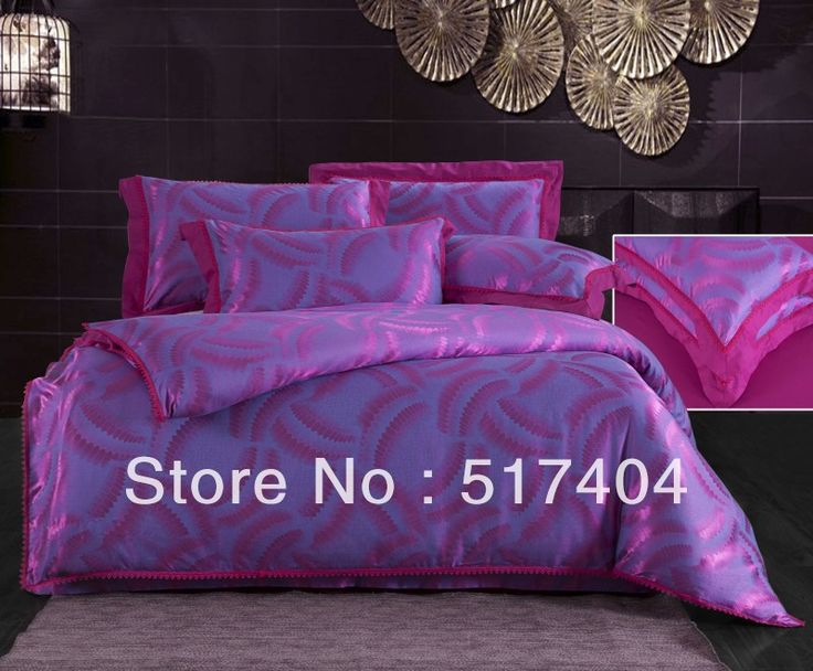 NEW silk material jacquard purple bedspreads,4pc bedding sets without filling,40%Cotton+60% Silk king purple bedlinen bedclothes $115.00 - 120.00