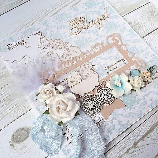 Pohľadnica pre krst... by Irina_mikla  Pohľadnica k narodeniu dieťatka (prípadne ku krstu, narodeninám) vyrobená z kvalitného papiera a jemných detailov. Ladená do bledo-modrého...