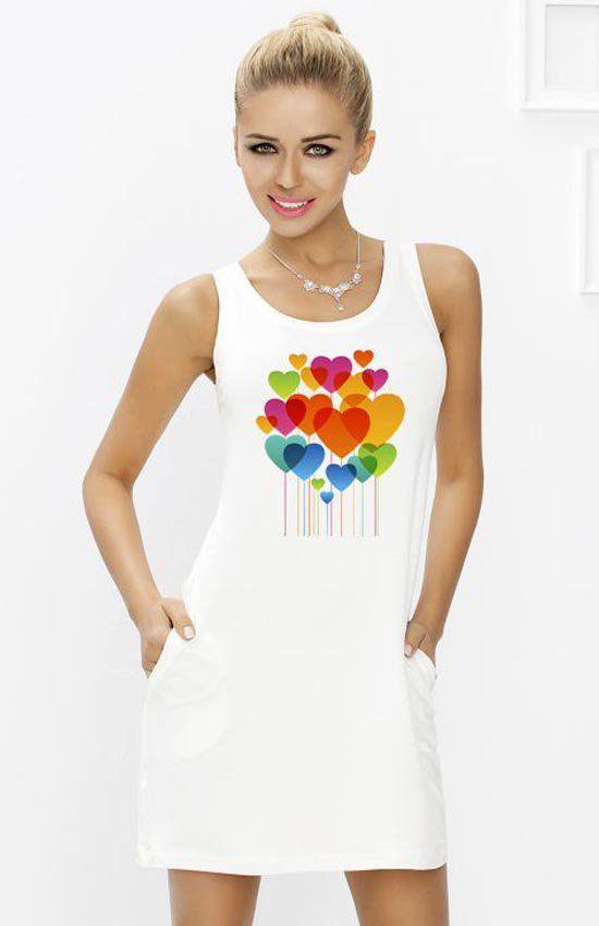 Dkaren Dola 035 koszulka Kobieca koszulka nocna idealna propozycja na prezent, na szerokich ramiączkach, przód zdobi ciekawa aplikacja
