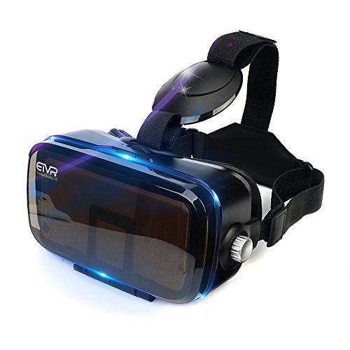ETVR 3D Virtual Reality Headset For 3D Movies and VR Games, Ultralight & Comfortable VR Headset, Large Screen Immersive Experience VR Goggles Fit for 4.7 - 6.2 inch IOS/Android Smartphones - Black