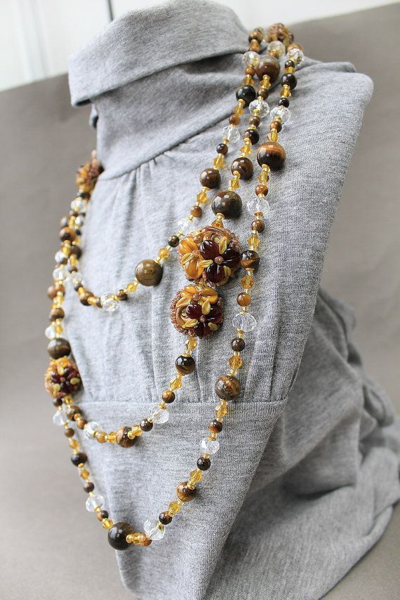 Lampwork Necklace Tiger Eye beads Necklace Autumn Floral