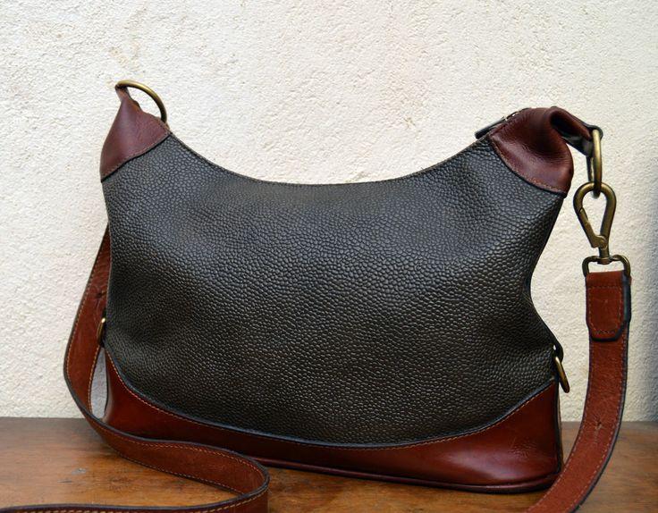 Authentic MULBERRY satchel BAG vtg VINTAGE real leather trim CROSS BODY shoulder