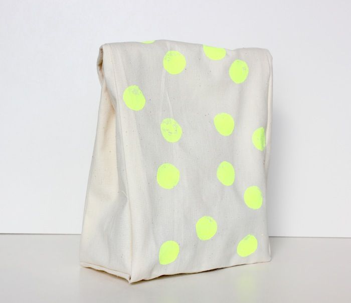 DIY canvas lunch sack with neon polka dots.