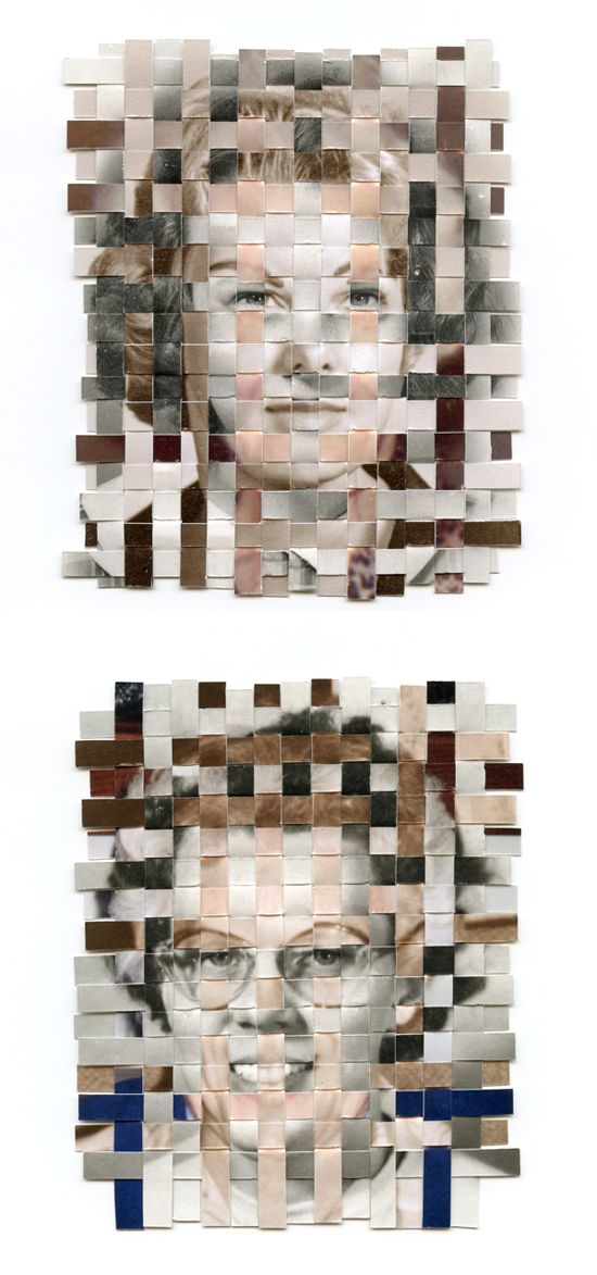 three photos from different parts of the subject's life woven together to make these