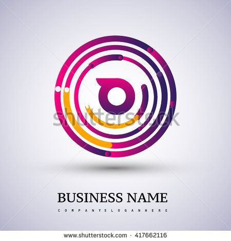 Letter O vector logo symbol in the colorful circle thin line. Vector design template elements for your application or company identity. - stock vector