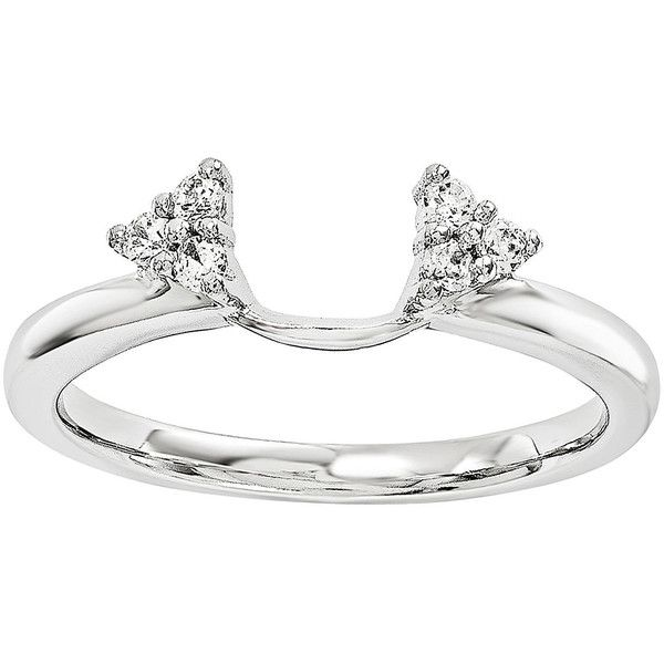 Diamond-Accent 14K White Gold Ring Wrap (2.680 RON) ❤ liked on Polyvore featuring jewelry, rings, 14k ring, 14k jewelry, diamond accent rings, wrap jewelry and sparkle jewelry