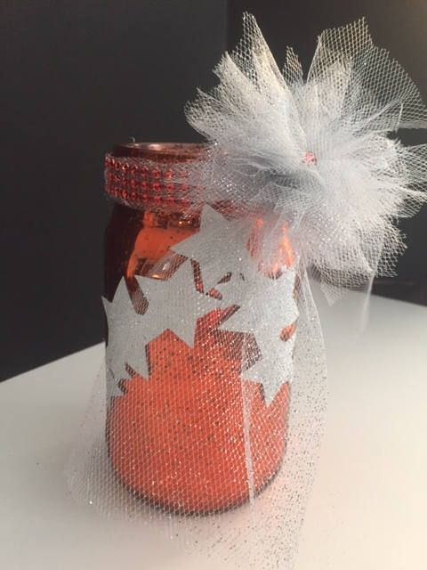 Christmas Starry Sparkle Mason Jar Candle Holder by pollynana247 on Etsy