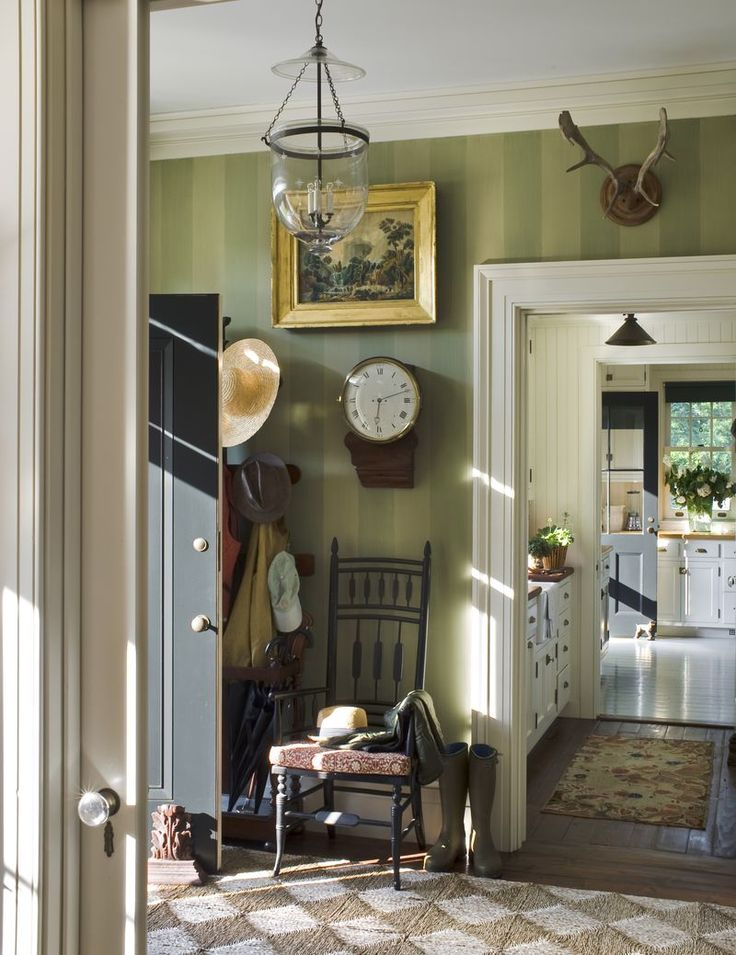Foyer With Green Tone On Stripe Walls From The Great American House