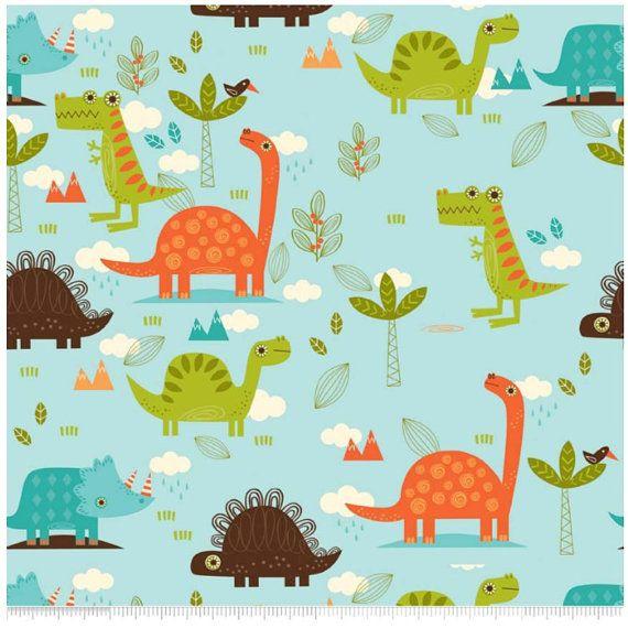 13 best dinosaur fabrics images on pinterest dinosaur for Baby dinosaur fabric