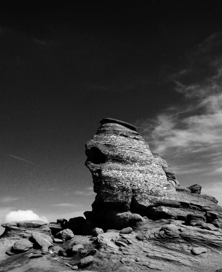 Sphinx. Busteni. 2219 m altitude. Bucegi mountains. Wobders of natures. Wind erosion.