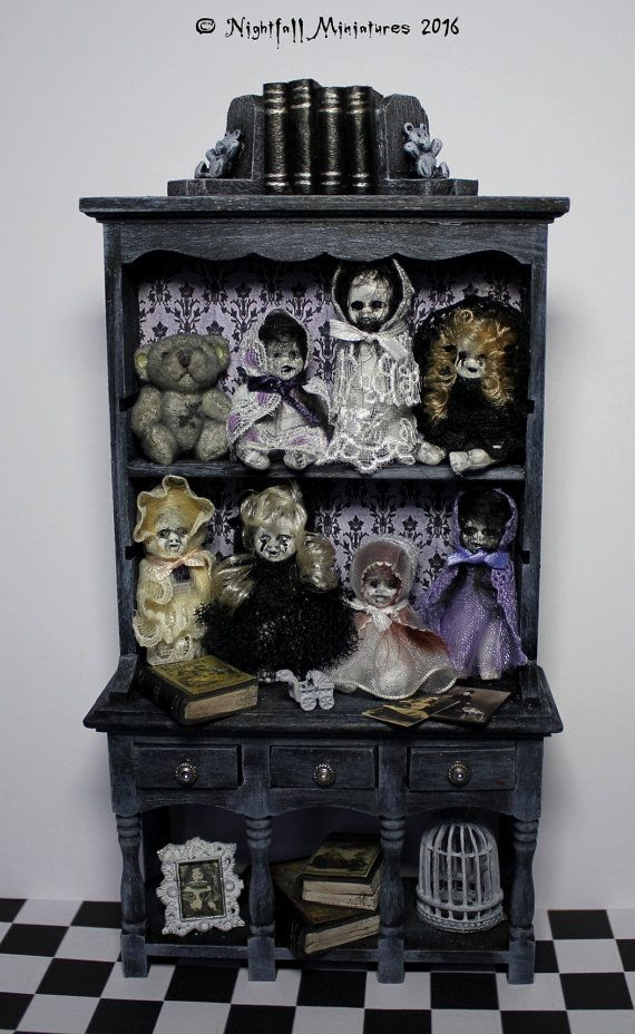 Dollhouse Miniature Gothic Spooky Halloween Creepy Doll Nursery Dresser in 1:12 scale RESERVED for Tracey