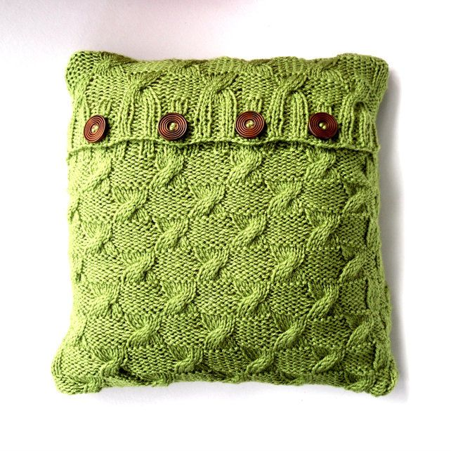 Green cable knit cushion cover  £27.50