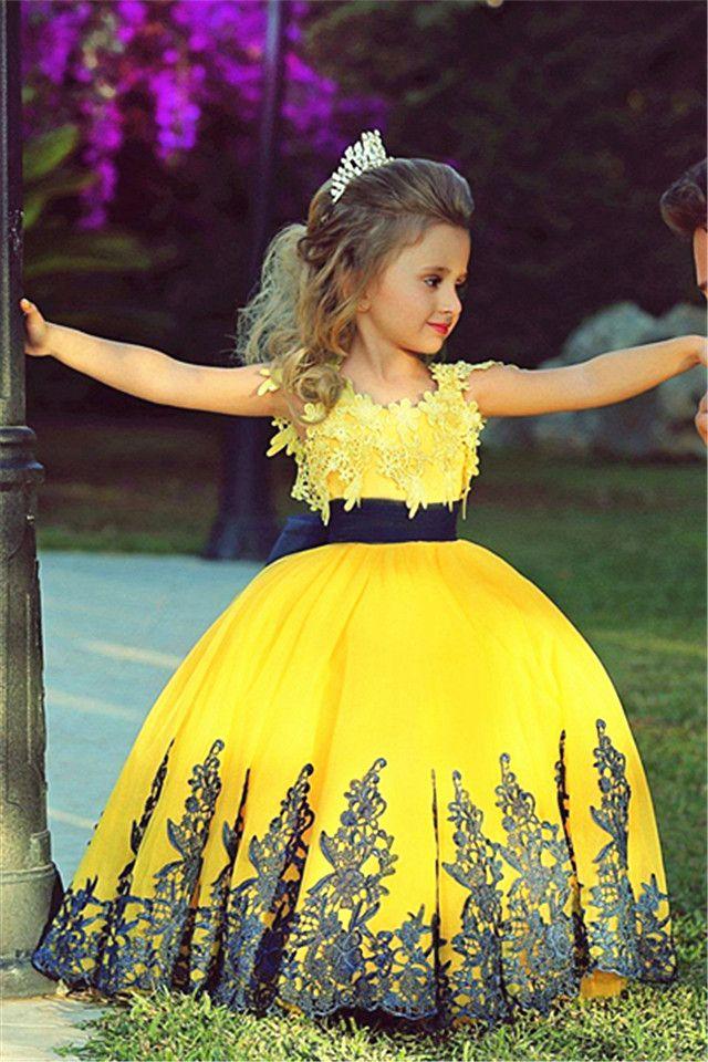Little Princess Yellow Ball Gown Girls Pageant Dress Cute Flower Girl Dress 2015 with Black Lace. www.suzhoudress,com