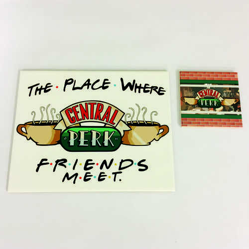 White Ceramic Tile Placemat and Coaster Sets, perfect for any fan of the hit TV show Friends – Featuring Central Perk  Sold in Packs of 4, 6 and 8  Printed at Uveeka's HQ Full colour high quality printing Scratch Resistant, Shower Proof Size – 250 x 200mm High Quality Ceramic Used Gloss Finish