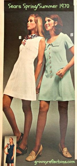 Cool Dacron fabric! Pale colors. Knees showing. Sears 1970 Spring Summer.