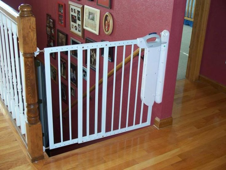 White Metal Baby Gates For Stairs With No