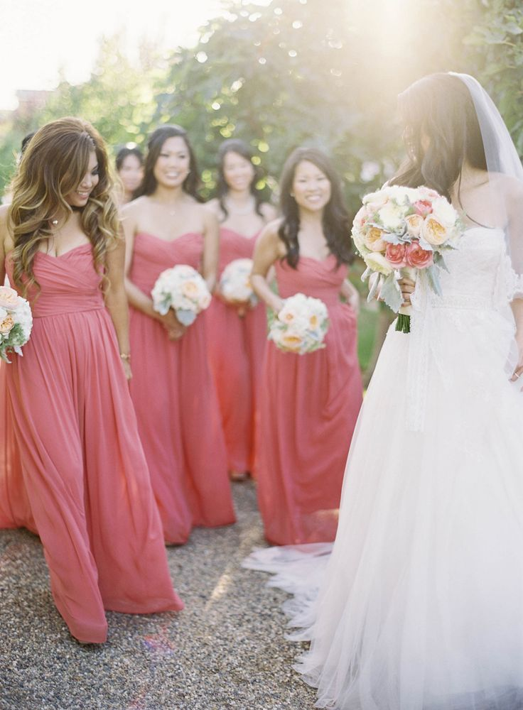 Monique Lhuillier bride and bridesmaids. Peach Inspired Farm Wedding at Carneros Inn Read more - http://www.stylemepretty.com/2014/03/10/peach-inspired-farm-wedding-at-carneros-inn/
