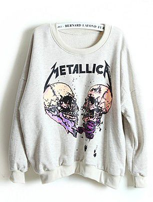 Grey Long Sleeve METALLIC A Skull Print Sweatshirt
