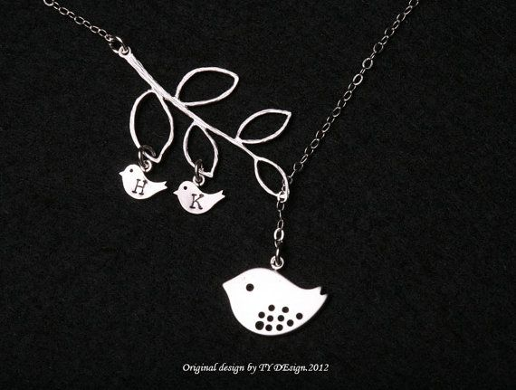 Bird initialBird NecklaceMom and babyMother by tydesign on Etsy, $36.50