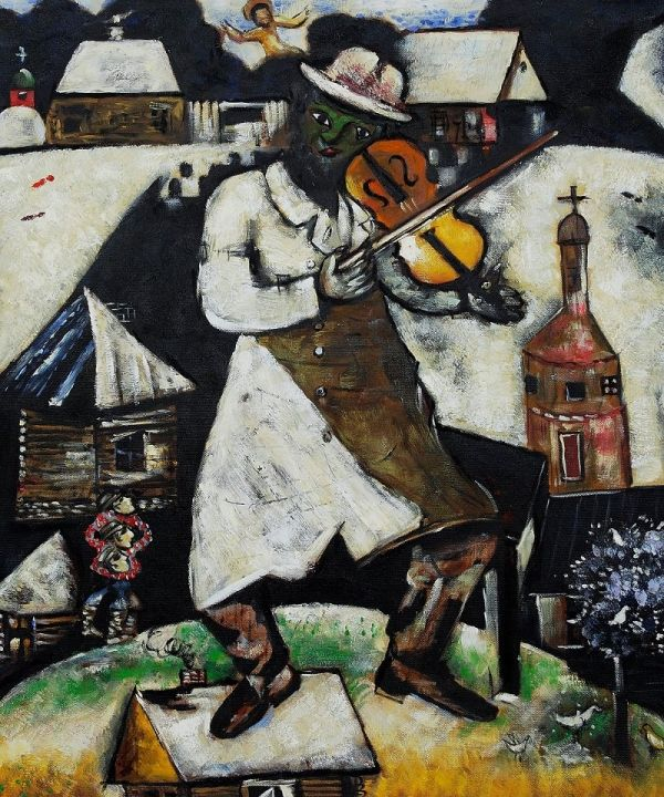 The Fiddler Le Violoniste Oil On Canvas By Marc