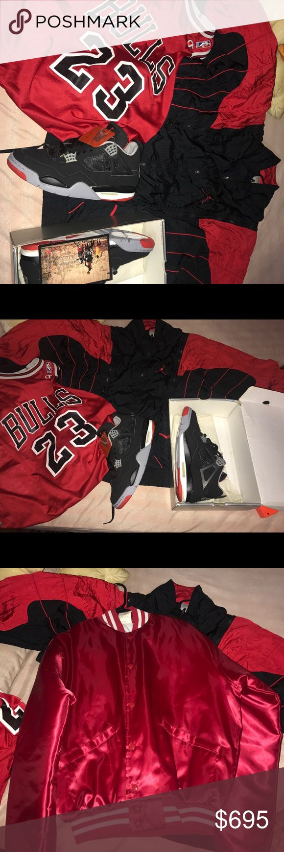 Nike Air Jordan Retro 4  jersey jacket varsity Contact me AND you can get this deal for only 585through PP You are getting everything u see in this picture. The air Jordan Michael Jordan champion jersey from the 90s size 44.  also the Bred air Jordan Nike air Jordan black cement 4s from 1999 size 11 comes with original everything. Also the jacket windbreaker in the back from 1990 size Large -XL and the red varsity jacket size medium you get everything for this awesome price. Don't miss out…