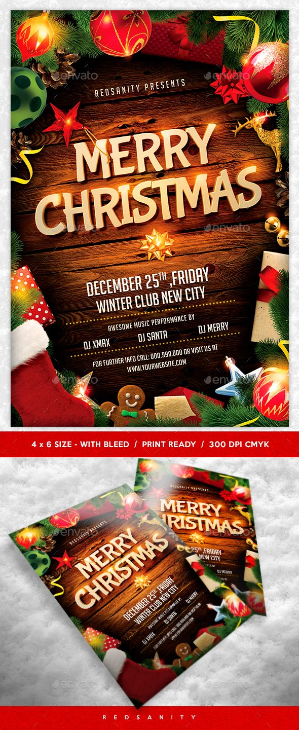 Best Christmas Flyer Templates Images On   Retro