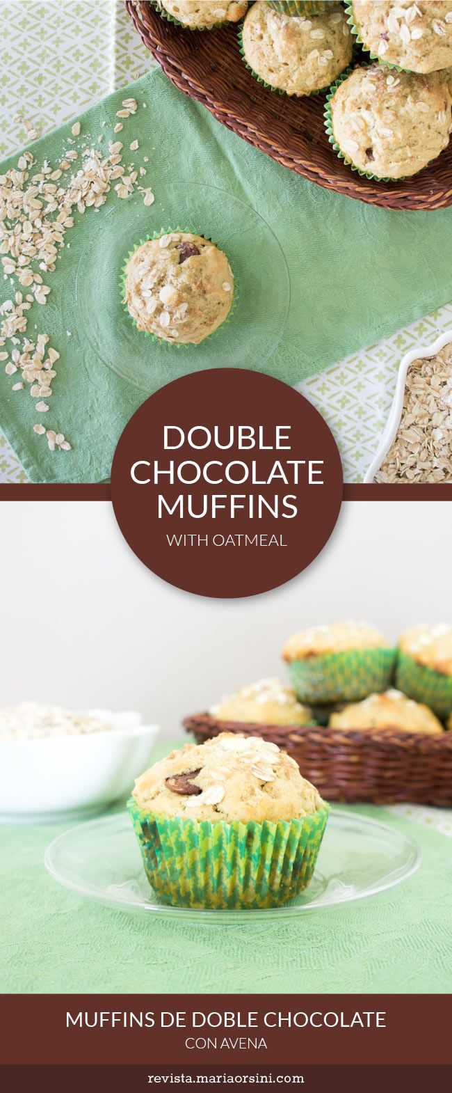 Double chocolate and oatmeal muffins, a quick and easy recipe with white chocolate and milk chocolate. Sneaky dessert for breakfast!