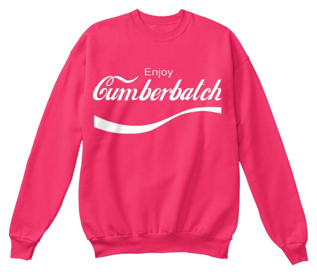 """Limited Edition """"EnjoyCumberbatch"""" tees and hoodies available in the color of your choice!   When you press thebig green button, you will be able tochoose your size(s). Be sure to orderbeforetime runs out!"""