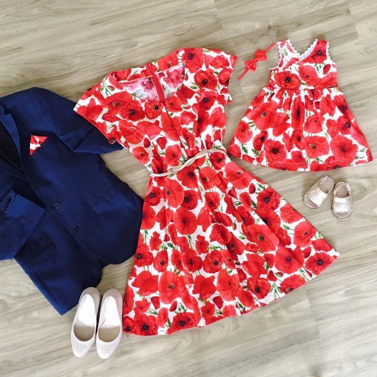Poppies Bloom Criss Cross Dress, Matching Mum Summer Dress and Daddy's Suit Pocket Square www.etsy.com/au/shop/MummyGDub