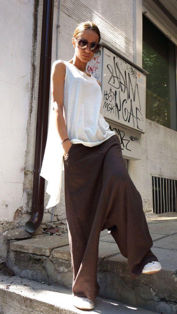NUOVA collezione sciolto lino marrone Harem Pants / goccia