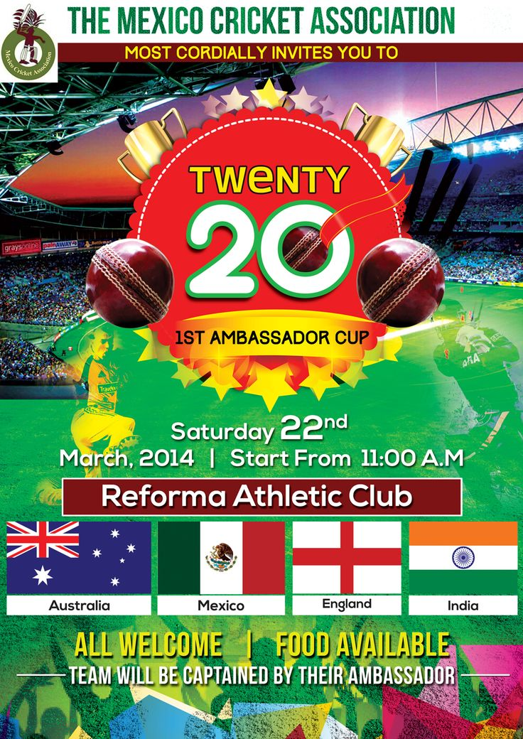 Invitation Design by Biswajit for Ambassadors Cup - Mexico #cricket #logo #poster #DesignCrowd #sport