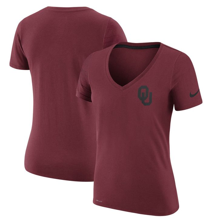 Women's Nike Crimson Oklahoma Sooners Phil Knight Invitational Disrupt Performance V-Neck T-Shirt