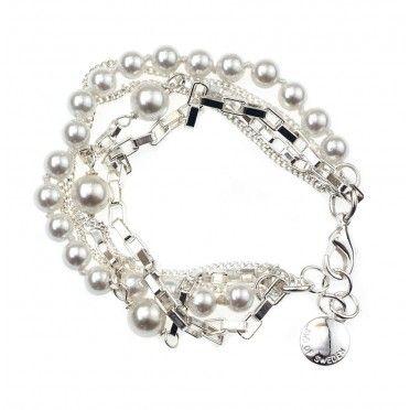 Bratara 5 siraguri placate cu argint si perle Scott