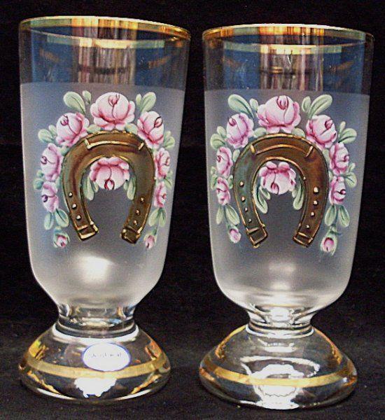 Svatební sklenice pro štěstí svadební dar malované s podkovou 2 kusy STO | Kočárky NEC