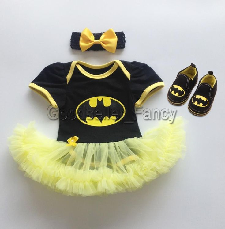 Newborn Baby Girl Infant Batman Romper Bodysuit Dress 3PCS Outfit Headband Shoes #Fashion #RomperJumpsuitBodysuitPlaysuit #DressyEverydayHolidayCasual