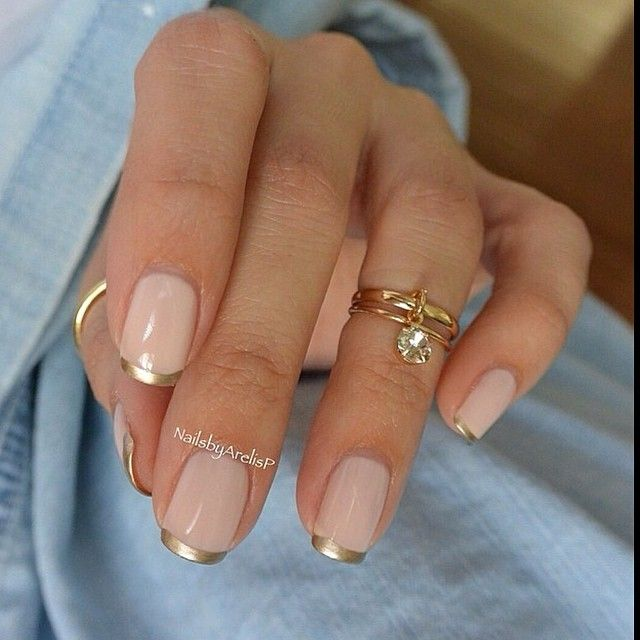Nude Gold French Manicure | La Beℓℓe ℳystère