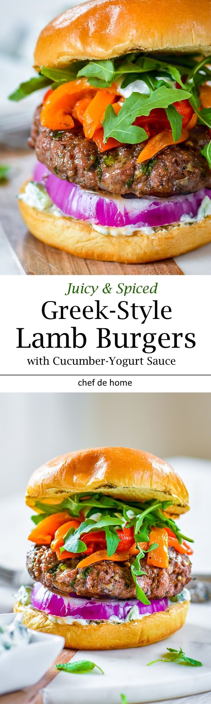 Greek Mint and Lamb Burgers with roasted red peppers, and Cucumber Yogurt Sauce