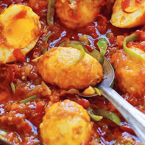 Burmese Golden Egg Curry. Eggs in a light tomato-based sauce that's mildly hot. If you like Burmese cooking why not try a FOOD TOUR on your next trip to Myanmar. Find out more at:  http://www.allaboutcuisines.com/food-tours/burma/in/burma #Burmese Recipes #Burmese Food #Travel Burma