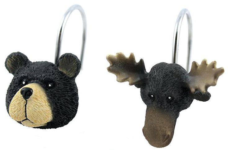 Moose and Bear Shower Curtain Rings...too bad there is no shower curtain at the lake house...these would be perfect!