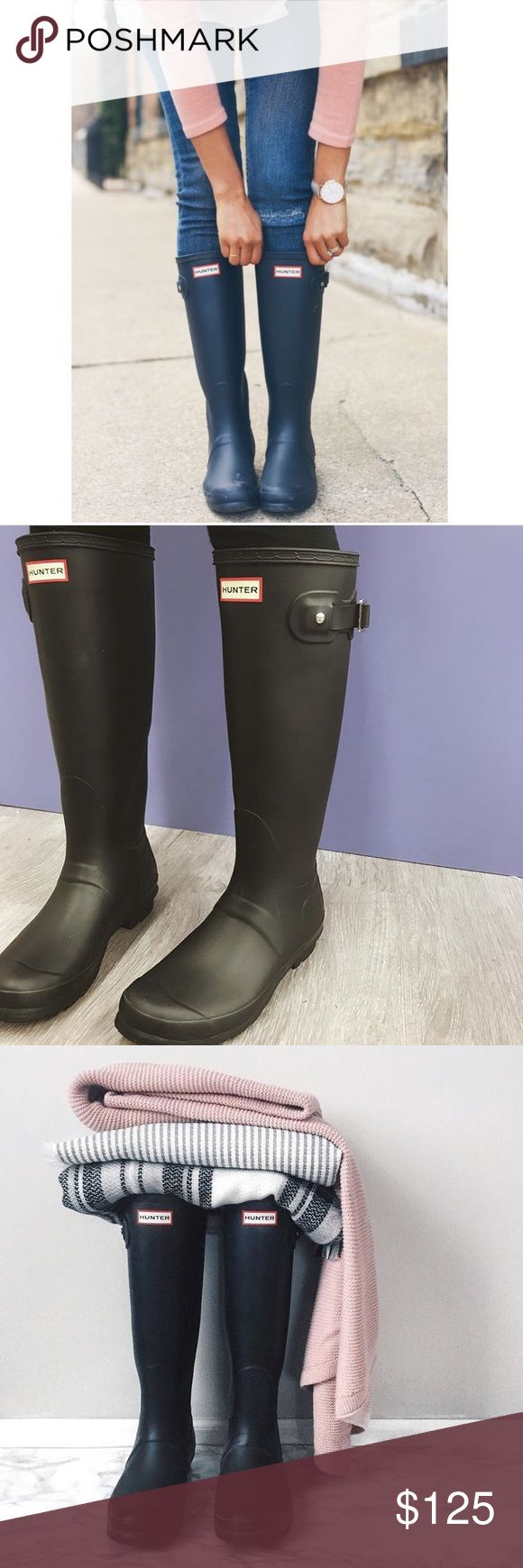 Hunter Original Rain Boots.Size US 8 EUR (39) The original Hunter wellies in a cool, matte finish and a convenient, foldable design. A buckled strap accents the shaft, while soft nylon lining and a cushioned footbed offer a comfortable fit. Great condition! Worn just once. Hunter Boots Shoes Winter & Rain Boots