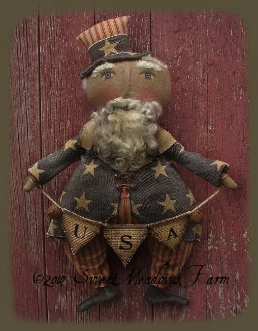 Primitive Uncle Sam Doll Epattern Sam I Am di SweetMeadowsFarm
