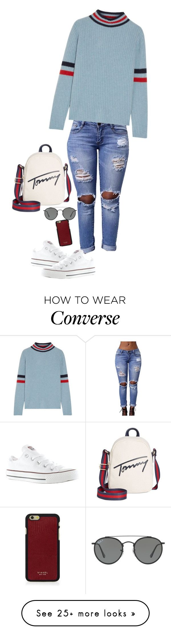 """Tommy"" by kiara-tuggle on Polyvore featuring The Elder Statesman, Converse, Tommy Hilfiger, Ray-Ban and Vianel"