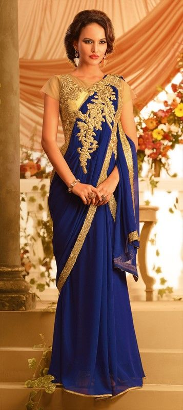 427161 Blue  color family gown in Bemberg, Georgette fabric with Lace, Machine Embroidery, Stone work .