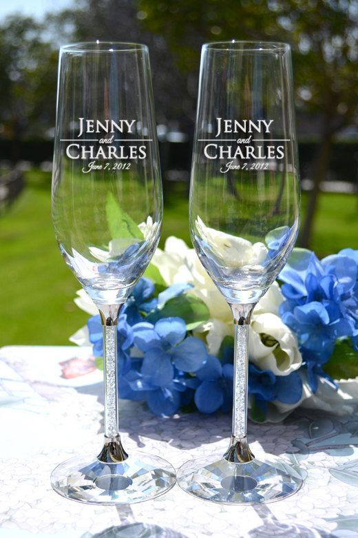 Custom Engraved Crystallized Toasting Glasses - Pair Crystal Champagne Flutes - Personalized Champagne Glasses - Wedding Gift on Etsy, $129.95