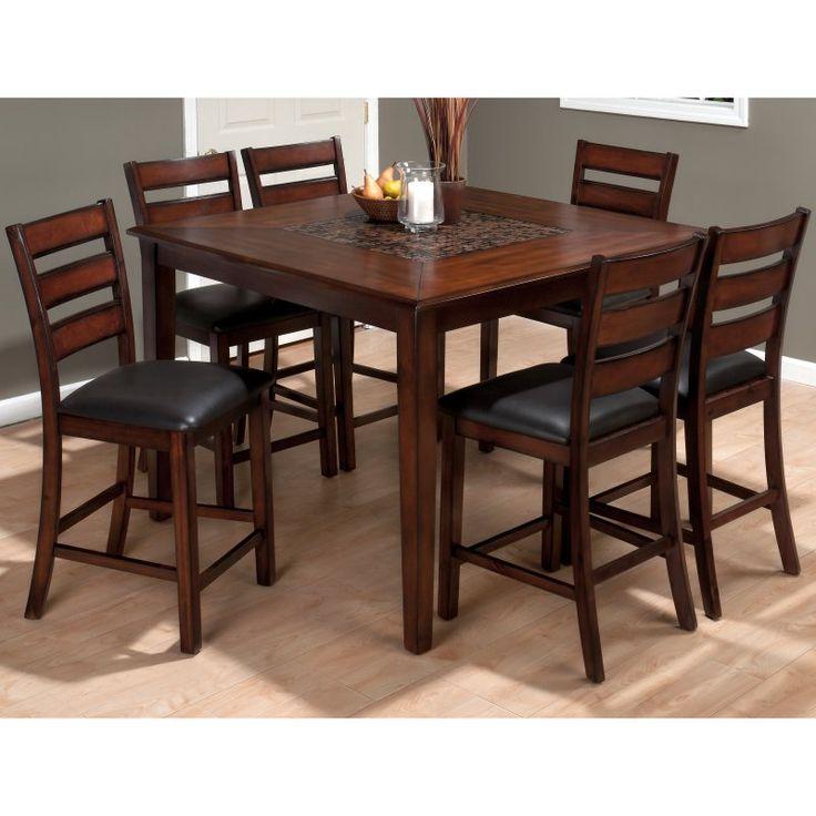 jofran baroque brown 7piece counter height dining table set jsi1159
