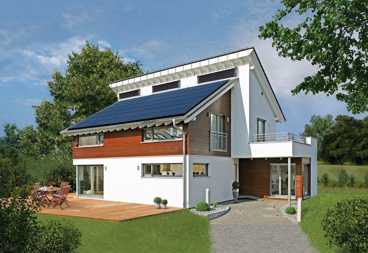 Einladende Außenansicht Haus Emotion in Fellbach | Fertighaus WEISS | versetztes Pultdach
