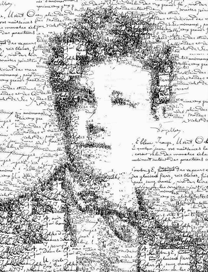 Manuscript self portrait of Arthur Rimbaud (1854-1891), by Sergio Albiac Portrait of the french poet using one of his manuscript poems. Generative calligraphic collage.