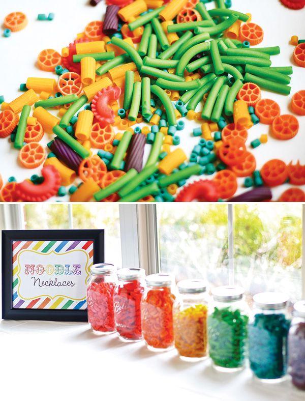 Art party: die pasta rainbow colors for necklaces