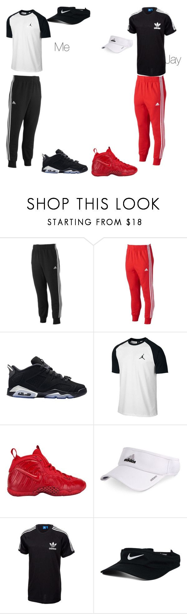 """On tour with Jay ✈️"" by kaishawnpride ❤ liked on Polyvore featuring adidas, Retrò, Jordan Brand, NIKE, men's fashion and menswear"