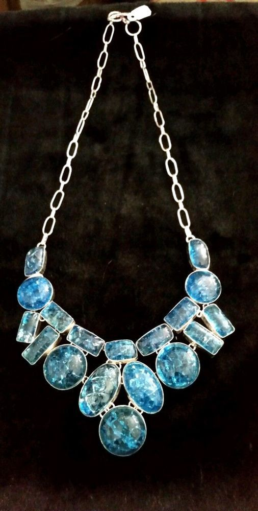 STUNNING! LARGE BLUE SNAKESKIN QUARTZ SILVER NECKLACE* STATEMENT PIECE!! #Statement